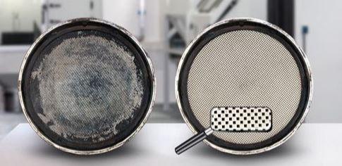 Filtro de partículas sucio y limpio